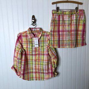 Gymboree Plaid Outfit Top Skirt Pink Orange Green